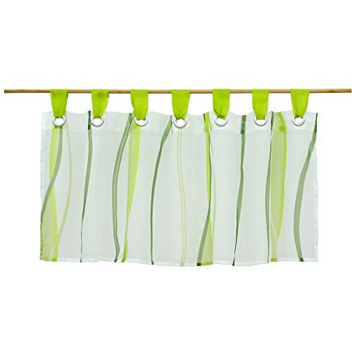 Hongya, tendina in voile trasparente da bistrò, con passanti, motivo onde, poliestere, verde, h/b: 45/90 cm