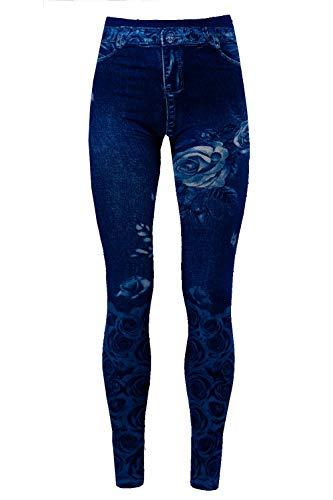 Bongual Thermo Leggings in Jeansoptik, Fleece-Leggings,Warme Frottee-Leggings,Treggings mit Muster, Fell-Leggins 36-38-40 (One Size, Blue Flower)