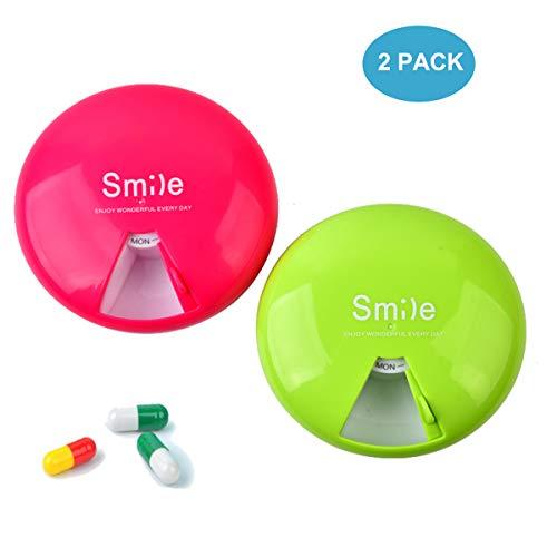 2 Packungen Wöchentliche Pille Organizer Kleine Tragbare BPA-Freie Pille Fall mit 360 Grad-umdrehung Pillendose 7 Fächer Tag Marken Pille Container (grün & orange) -