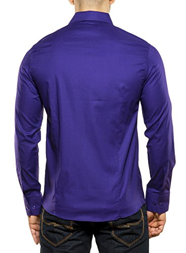Reslad Herren-Hemd Langarmhemd Bügelleicht Slim Fit Figurbetont Uni RS-7002 Lila