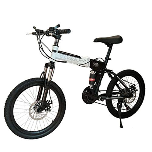 LETFF Vélo Pliant Adulte 20 Pouces, Double Amortissement 24 Vitesses, VTT Hommes Et Femmes,White
