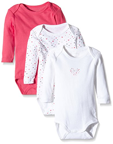 NAME IT Baby-Mädchen Body NITBODY LS NB G NOOS, 3er Pack, Gr. 74, Mehrfarbig (Rouge Red)