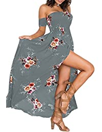 OMZIN Womens Dress Summer Beach Off Shoulder Floral Maxi Print Boho Dress