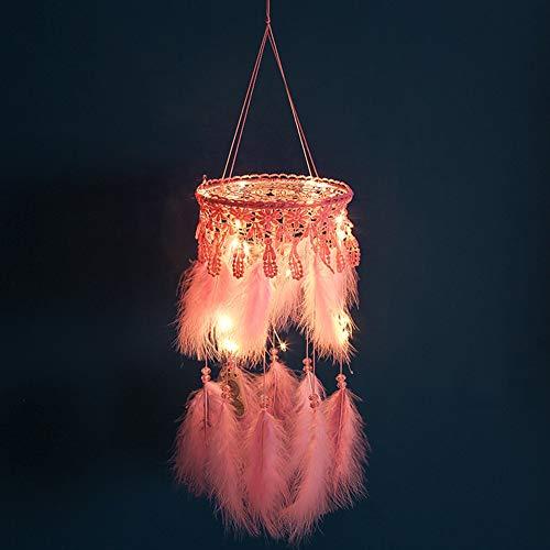 Outtybrave - Lámpara Colgante de Encaje con diseño de atrapasueños con Plumas Rosas