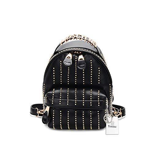 Yoome Mini Leder Rucksack geldbörse für Frauen Mode Nieten Schultasche Daypack