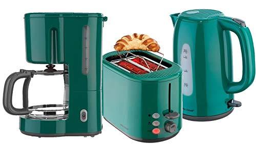 Frühstücksset 3-teilig Filterkaffeemaschine Wasserkocher Toaster Set Grün
