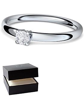 Verlobungsringe Silber-Ring von AMOONIC mit SWAROVSKI Zirkonia Stein Ring +LUXUSETUI Damen 925 wie Diamant Verlobungsring...