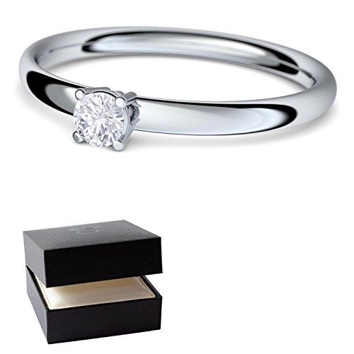 Verlobungsringe Silber-Ring von AMOONIC mit SWAROVSKI Zirkonia Stein Ring +LUXUSETUI Damen 925 wie Diamant Verlobungsring Diamantring Heiratsantrag Damenring wie Weißgold AM161SS925ZIFA48