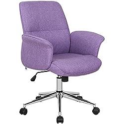 SixBros. Chaise de Bureau, Fauteuil de Chef, Chaise d'Ordinateur, Chaise pivotante de Tissu, Violet 0704M/3674