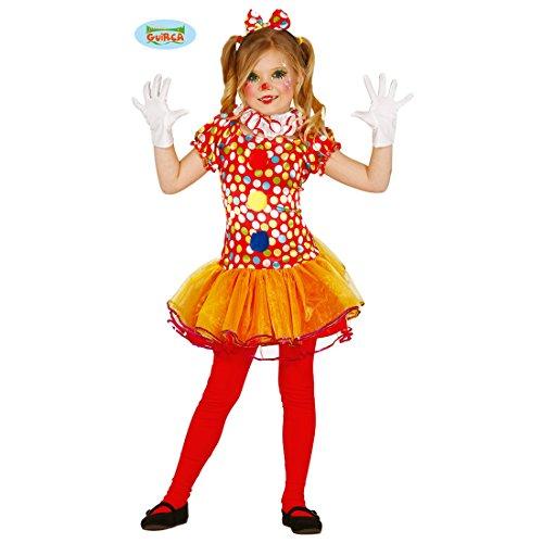 NET TOYS Clownskostüm Mädchen Clown Kinderkostüm 5 - 6 Jahre, 110 - 115 cm Harlekin Kleid Zirkus Verkleidung - Mädchen Harlekin Clown Kostüm