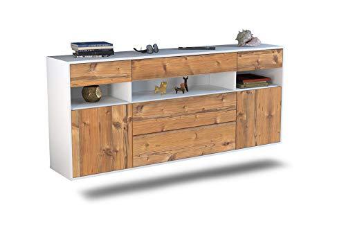 Dekati Sideboard Inglewood hängend (180x77x35cm) Korpus Weiss matt | Front Holz-Design Pinie | Push-to-Open | Leichtlaufschienen
