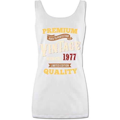 Geburtstag - 40. Geburtstag Vintage 1977 - lang-geschnittenes Tanktop für Damen Weiß