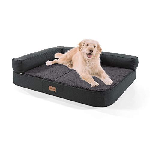 brunolie Odin mittleres Hundesofa in Dunkelgrau, waschbar, orthopädisch und rutschfest, Hundekissen mit Abnehmbarer Lehne, Größe M (100 x 80 x 12 cm) - Hunde Knochen Mittelgroße Hund Für