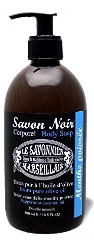 Savon noir corporel menthe poivrée à l'huile d'olive 500 ml Le Savonnier Marseillais