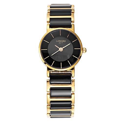Longbo Luxus Damen-Fall rund Edelstahl Gold Link & Schwarz Keramik Band Armband Uhren Einfache Wasserdicht Paar Uhr Business Armbanduhr für Frau
