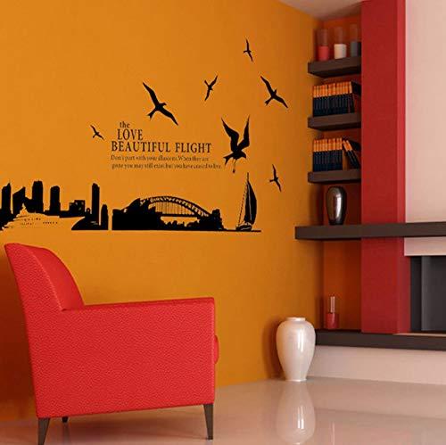 (Dalxsh Große Stadt Silhouette Von Sydney Brücke Aufkleber Vinyl Wandaufkleber Pvc Decor AbnehmbareDiy Haus Zimmer Haus Aufkleber Wohnkultur 60X90 Cm)