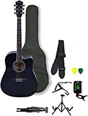 Kadence Frontier Series Acoustic Guitar (With Equalizer Jumbo 41 inch), Black Combo
