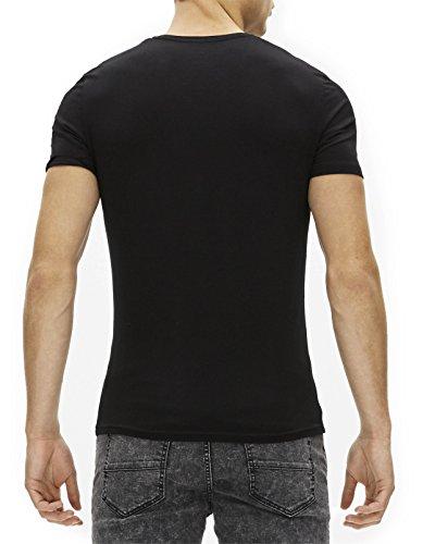 Celio Herren T-Shirt Jeuni, Einfarbig Schwarz