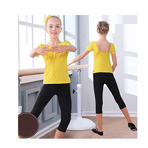 Kinder Dancewear Mädchen Latin Dancewear Baumwolle Yoga Übung Kleidung Anzug Gelb Kurzarm Schwarz Kurze Hose Höhe 130 cm