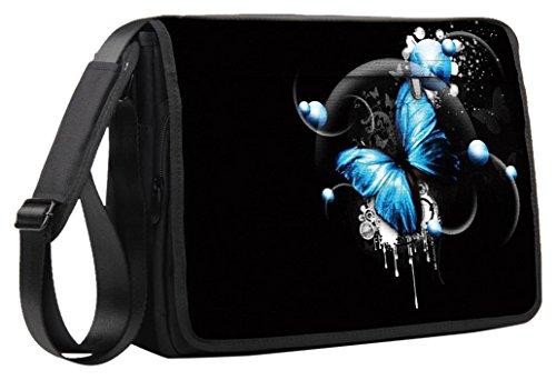 Luxburg® Luxus Design 15Zoll Schultergurt Messenger Tasche für Laptop/Notebook-Parent blau mit Schmetterlingen 15 Zoll (38,1 cm)