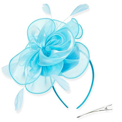 DRESHOW Fascinators Hut Cocktail Party Tee Kopfbedeckung Blume Mesh Organza Bänder Federn auf einem Stirnband und Gabel Clip für Mädchen und ()