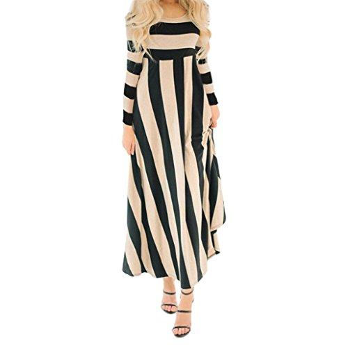 Xmiral Women Autumn Cute Long Sleeve Striped High Waist Maxi Dress Evening Party Long Dress