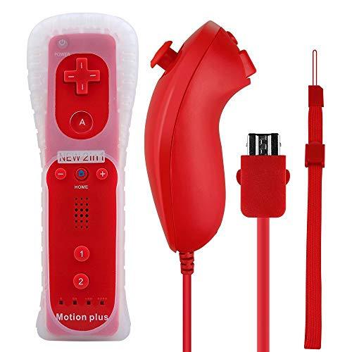 Wisenovo Wii Motion Plus Controller Nintendo Wii Controller und Nunchuk Motion 2 in 1 Gebaut Bewegung Plus Fernbedienung Set für Nintendo Wii und Wii-Konsole u mit Silikonhülle-Rot