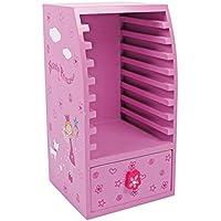 """Preisvergleich für CD Schrank """"Beauty Princess"""" aus Holz, Kindermöbel dekorativ in rosa mit Prinzessin Motiv, für 9 CDs geeignet"""