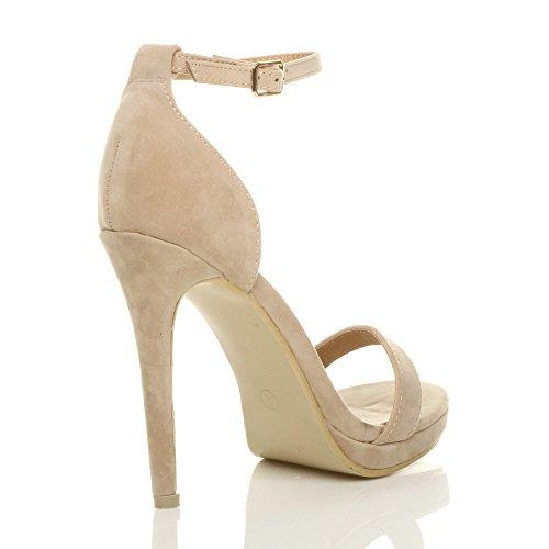 Donna tacco alto spillo plateau fibbia con cinturino scarpe sandali numero Ecrù Camoscio