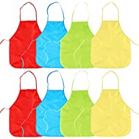 8pcs Delantal Infantil Pintura Blusón Con Mangas Largas - PVC Impermeable Infantil Para Pintar Para Niños
