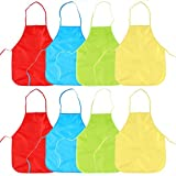 8pcs Delantal Infantil Pintura Blusón Con Mangas Largas - PVC Impermeable Infantil Para Pintar Para Niños Actividades Creativas, Dibujo, Panadería, Cocina, Artesanía - Para Eventos Escolares