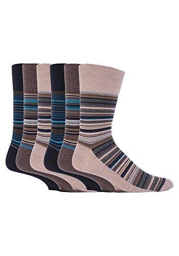 6 paia da uomo aderenti non stringono no calze elastiche 6-11 uk, 39-45 eur assortiti righe - mgg50, 6-11 uk, 39-45 eur