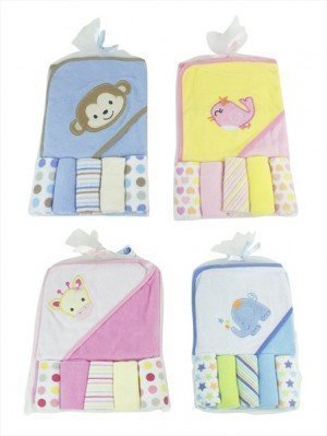 Baby Hooded Towel and Five Wash Cloths Set (Pink Giraffe) by First Steps
