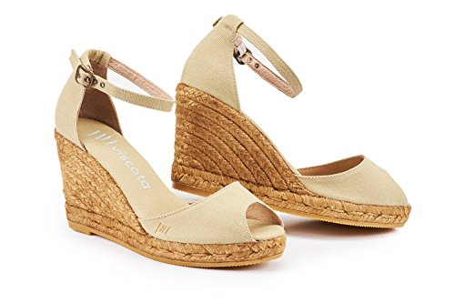 VISCATA Aiguafreda Elegant Comfort, Canvas, Ankle-Strap, Open Toe, Espadrilles with 3-inch Heel Made in Spain Beige