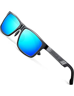 ATTCL Hombre polarizado Wayfarer gafas de sol Al-Mg marco de Metal Ultra Light