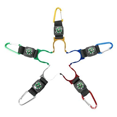 5pcs all'aperto porta bottiglia d'acqua bussola clip per campeggio escursionismo con fibbia della cintura per bottiglia d'acqua (colore casuale)