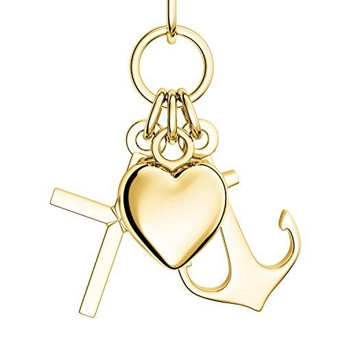 Herz Kreuz Anker Kette Gold 333 + inkl. GRATIS Luxusetui + Glaube Liebe Hoffnung Kette mit Herzchen Ankerkette Kreuzkette drei Anhänger Goldkette Gelbgold 333er Halskette FF390