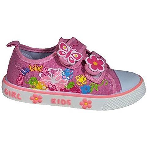 Niñas Velcro Zapatillas De Lona talla UK 8 a 11 talla EU rosa de 25 a 30