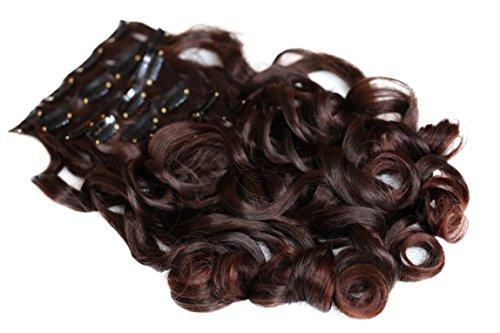 PRETTYSHOP XL 7 Teile Set Clip in Extensions 60cm Haarverlängerung Haarteil gewellt dunkelbraun mix #2T33 CE26-1