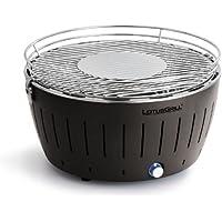 LotusGrill XL (Gris Antracita) libre de humo Asador a carbón vegetal/grill de mesa en diferentes ALEGRES farben. GARANTIZADO Siempre La Última Tecnología + incl. Magic Cover Ø 24cm