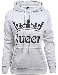 Coppie Felpa con Cappuccio King Queen Corona Stampa Manica Lunga Felpa Uomo  Donna Pullover con Tasche 14f749212976