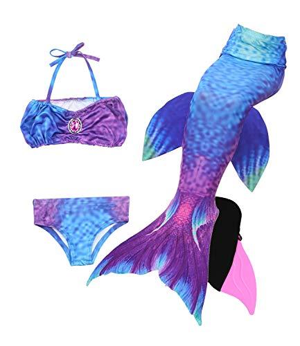 Le SSara 2018 Mädchen Meerjungfrau Tails Bikini Badeanzug setzt 4 Stücke Bademode mit Flosse für Schwimmen Cosplay Partei (130, JP99-Pink)