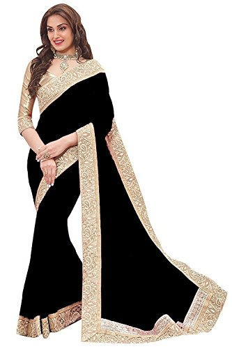 D7 Fashion New Black Color Chiffon Fabric Sarees With Blouse.
