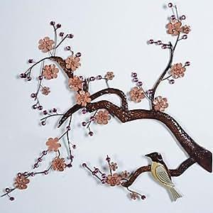Pi paroi métallique de décoration murale d'art, s'arrêter à la branches de prunier oiseaux décoration murale