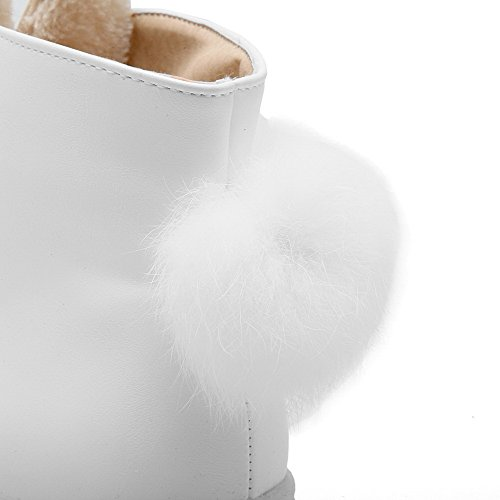 VogueZone009 Femme Rond Lacet Pu Cuir Couleur Unie à Talon Bas Bottes Blanc