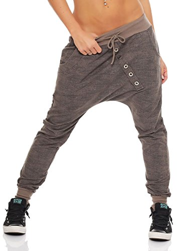 Malito Damen Jogginghose mit Knopfleiste | Sporthose meliert | Baggy zum Tanzen | Sweatpants - Trainingshose 7398 (Fango)
