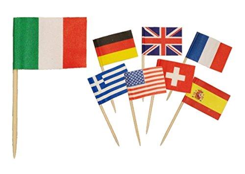 (takestop® Set 144Stück Flaggen Zahnstocher Nationen Flaggen Sortiert für Party Party Aperitif Snack Buffet Fingerfood Dekoration)