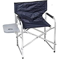 Foldable Chair with Side Table - Navy