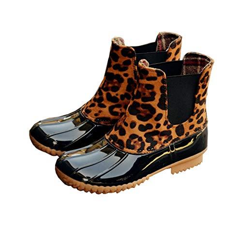 Botas de Agua Mujer Goma Impermeables Botas de Lluvia Atajo Invierno Calentar Zapatos de Trabajo Jardin Slip on Plataforma 2.2cm Leopardo EU35