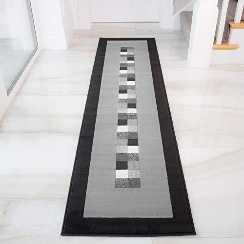 The Rug House Alfombra Moderna Negra & Gris Suave Milan 777-H51-5 Tamaños